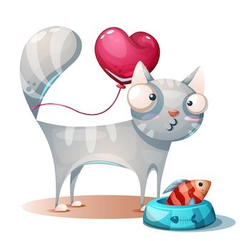 Minou mignon, personnages de chat avec du poisson