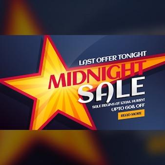 Minuit vente bannière avec étoile jaune en arrière-plan