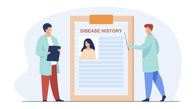 De minuscules médecins qui étudient l'histoire de la maladie