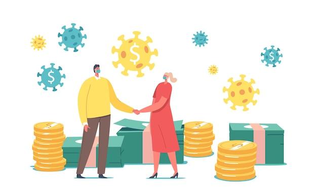 De minuscules personnages féminins masculins portant des masques faciaux médicaux se tenant la main se tiennent debout devant d'énormes tas de pièces et de billets d'or