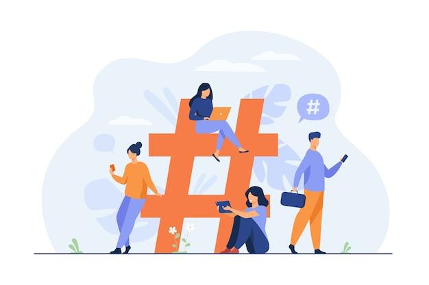 De minuscules personnes près du hashtag pour une illustration plate de médias sociaux.
