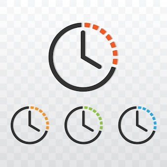 Minuterie d'horloge avec illustration vectorielle de couleur différente sur fond transparent.