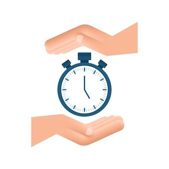 Minuterie en mains sur fond blanc icône plate avec minuterie concept d'entreprise