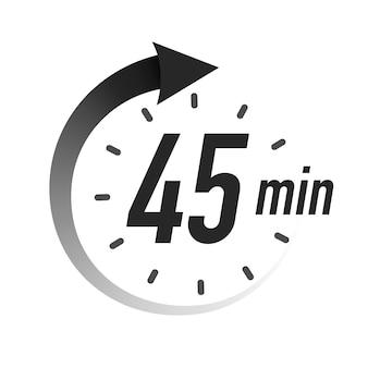 Minuterie minutes symbole style noir avec flèche isolé sur fond blanc horloge chronomètre cuisson