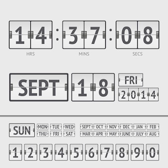 Minuterie numérique de tableau de bord blanc avec date et heure de la semaine