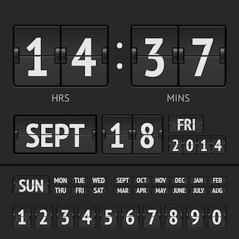 Minuterie numérique de tableau de bord noir avec date et heure de la semaine