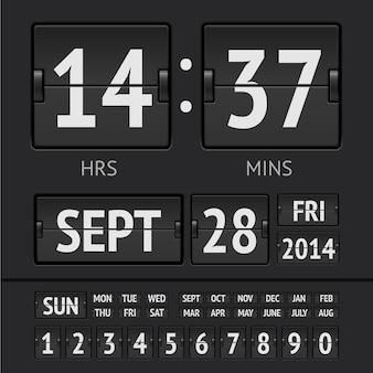 Minuterie numérique à tableau de bord noir avec date et heure de la semaine