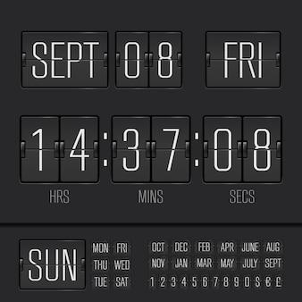 Minuterie de semaine numérique noir flip clock vector