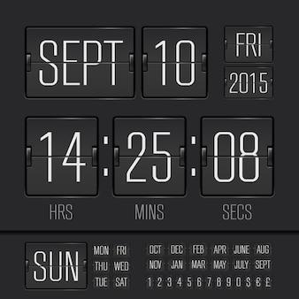 Minuterie de semaine numérique de tableau de bord noir analogique