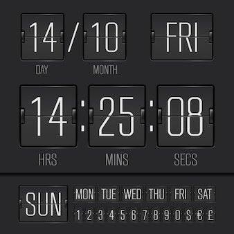 Minuterie de semaine numérique à tableau noir analogique avec date et heure de la semaine