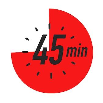 Minutes minuterie symbole couleur rouge style isolé sur fond blanc horloge chronomètre temps de cuisson