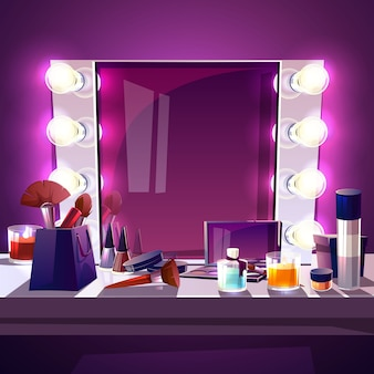 Miroir carré de maquillage avec ampoule, cadre argenté moderne illustration de dessin animé