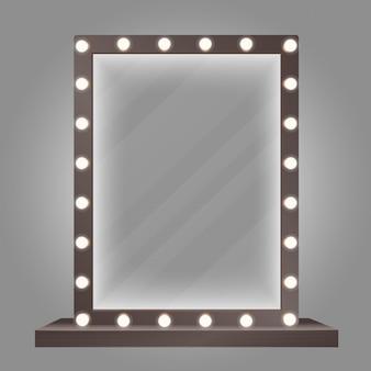Miroir dans un cadre avec des ampoules. illustration de miroir de maquillage.