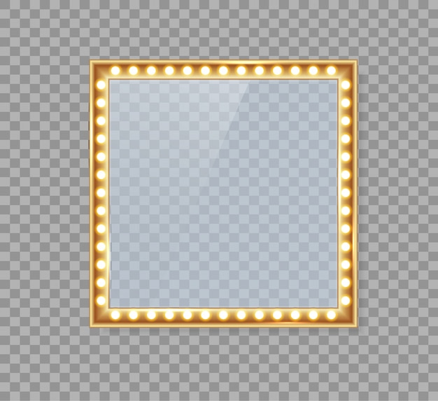 Miroir dans un cadre avec des lumières dorées pour des lumières de maquillage.