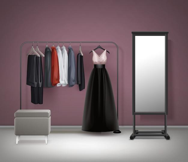 Miroir intérieur de vestiaire de vecteur, pouf, porte-vêtements en métal noir avec robe, pantalon, pantalon et chemises vue de face