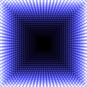 Miroir led abstrait fond carré. des lumières bleues flamboyantes s'estompant au centre.