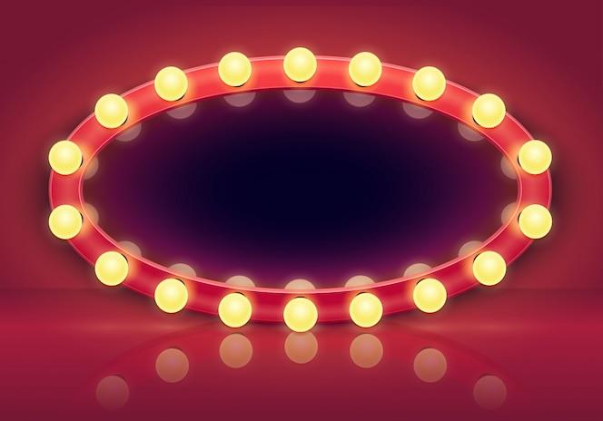 Miroir de maquillage. cadre de miroirs de lumières, ampoules d'éclairage et illustration intérieure de vestiaire dans les coulisses