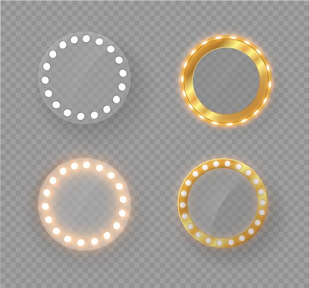 Miroir de maquillage isolé avec des lumières d'or.