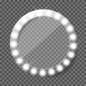 Miroir de maquillage rond avec ampoules. miroir de courtoisie rétro illuminé. bientôt concept vectoriel