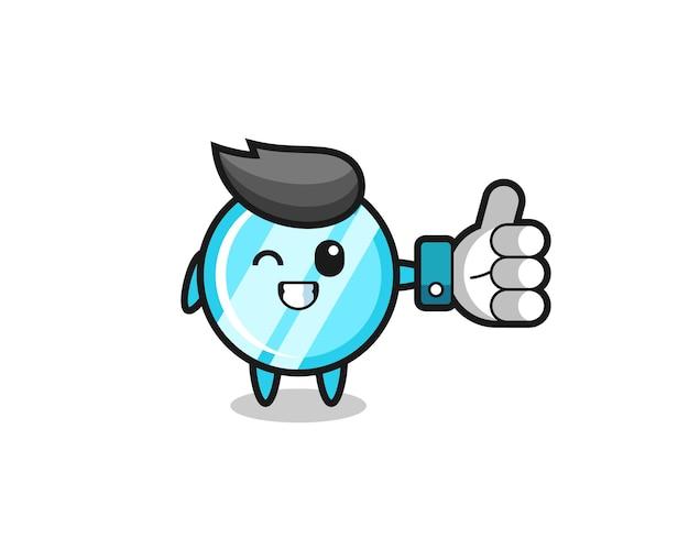Miroir mignon avec symbole de pouce levé sur les médias sociaux, design de style mignon pour t-shirt, autocollant, élément de logo
