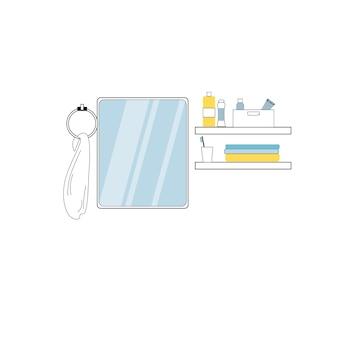 Miroir de salle de bain de dessin animé plat de vecteur, serviette, étagères avec articles de produits d'hygiène personnelle isolés sur fond vide-meubles de salle de bain à la maison modernes, concept d'éléments intérieurs, conception d'annonce de bannière de site web