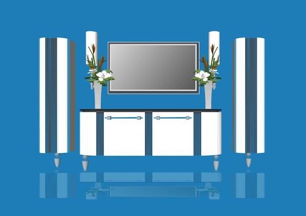 Miroir de salle de bains avec télévision et fleurs