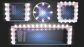 Miroirs de maquillage de différentes formes avec lampes ampoule illustration cadre argent moderne