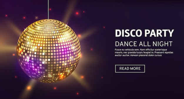Mirrorball party disco ball invitation card celebration fashion partying poster template dance club