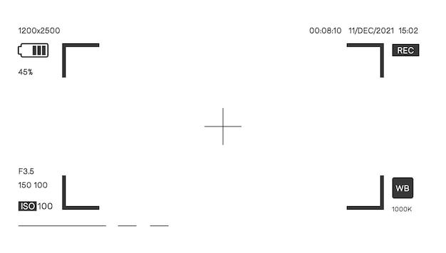Mise au point de la caméra avec paramètres et vecteur d'affichage