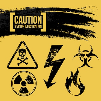 Mise en garde sur l'illustration vectorielle fond jaune