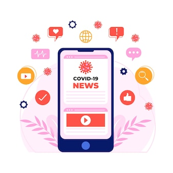 Mise à jour du coronavirus sur smartphone illustrée