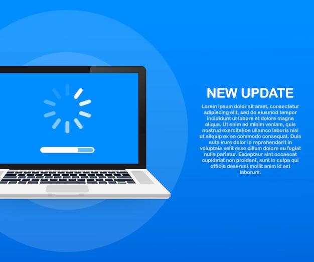 Mise à jour du logiciel système, mise à jour des données ou synchronisation avec la barre de progression à l'écran. illustration vectorielle
