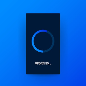 Mise à jour du logiciel système, mise à jour des données ou synchronisation avec la barre de progression à l'écran.