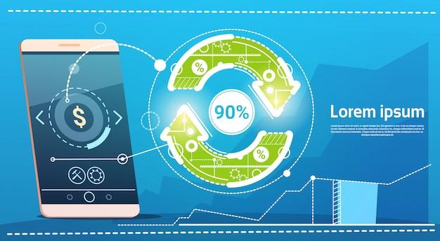 Mise à jour du téléphone cellulaire intelligent arrow finance concept success