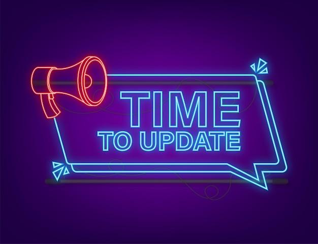 Mise à jour ou mise à niveau du logiciel système nouvelle mise à jour de la bannière icône néon du temps de mise à jour