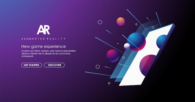Mise en page ar avec smartphone abstrait. modèle moderne pour le web et l'impression. concept de réalité augmentée modèle moderne pour le web et l'impression. concept de réalité augmentée.