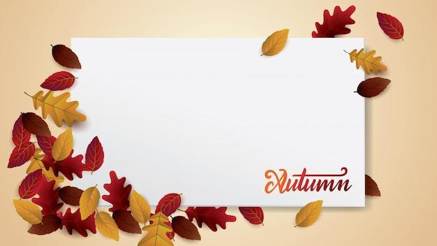 Mise en page autumnblank décorer avec des feuilles pour les voeux.