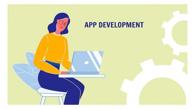 Mise en page de bannière web avec vecteur de développement d'applications avec texte