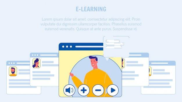 Mise en page de bannières web vector d'apprentissage en ligne avec fond