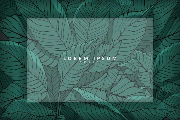 Mise en page créative faite à partir de croquis de feuilles vertes comme arrière-plan avec couche blanche, plat poser. concept nature