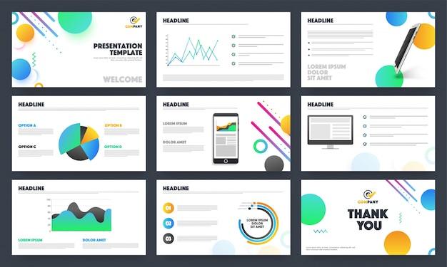 Mise en page créative des modèles de présentation des entreprises.