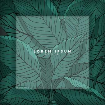 Mise en page, croquis de feuilles vertes comme arrière-plan avec calque blanc