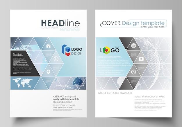 La mise en page de deux couvertures de format a4 avec des modèles de triangles