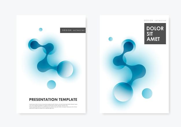 Mise en page deux couvertures modèles brochure technologie et biotechnologie et fond scientifique