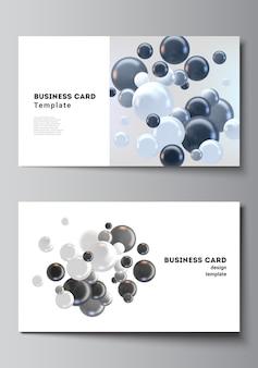 Mise en page de deux modèles de conception de cartes de visite créatives, conception de modèle horizontal. fond réaliste avec des sphères 3d multicolores, des bulles, des boules.