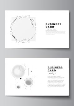 Mise en page de deux modèles de conception de cartes de visite, modèle horizontal.