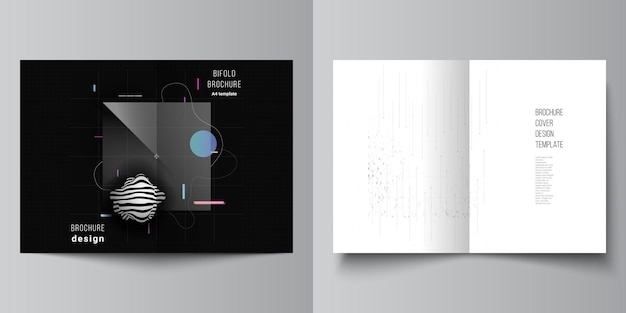 Mise en page de deux modèles de couverture a4 pour brochure à deux volets. concept high tech minimaliste.