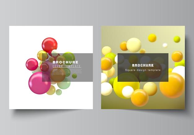 Mise en page de deux modèles de couvertures carrées pour brochure, flyer, conception de couverture, conception de livre, couverture de brochure. abstrait futuriste avec des sphères 3d colorées, des bulles brillantes, des boules.
