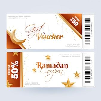 Mise en page du coupon ou du bon cadeau du ramadan avec le meilleur rabais