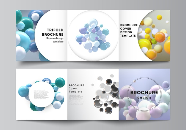 Mise en page du format carré couvre les modèles de brochure à trois volets, dépliant, magazine, conception de la couverture, conception du livre. abstrait réaliste avec des sphères 3d multicolores, des bulles, des boules.